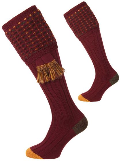 Pennine Socks, Ambassador Shooting Sock - Burgundy