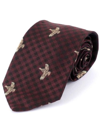 Atkinsons 'Flying Grouse' Wool & Silk Tie, Plum