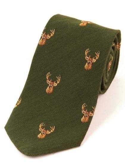 Atkinsons 'Stag' Wool & Silk Tie - Green