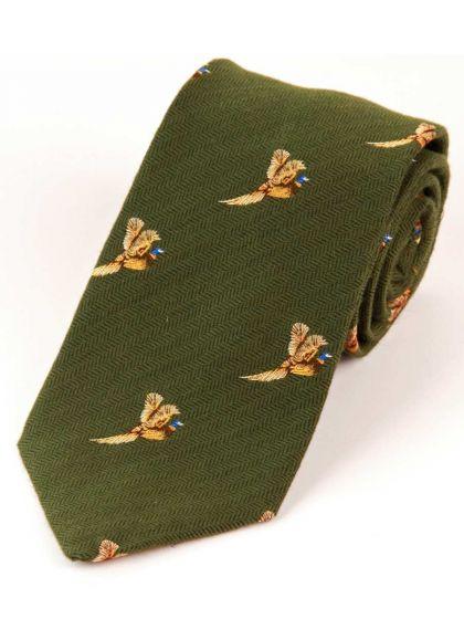 Atkinsons 'Flying Pheasant' Wool & Silk Tie - Green