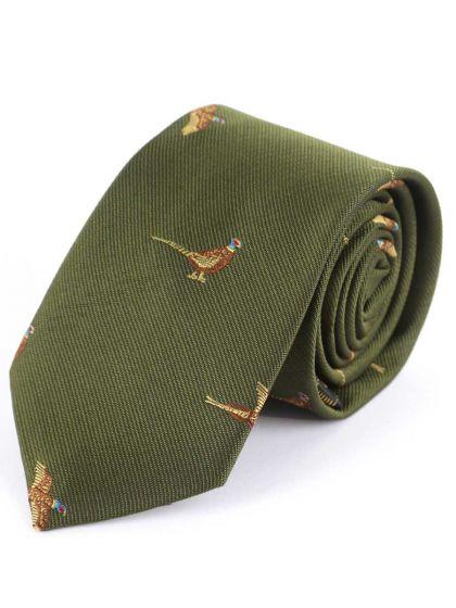 Children's Pheasant Shooting Tie, Olive