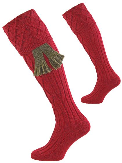 The Buxton Shooting Sock - Cherry from Pennine Socks