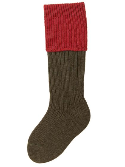 Spruce and Brick Red Children's Lomond Shooting Sock