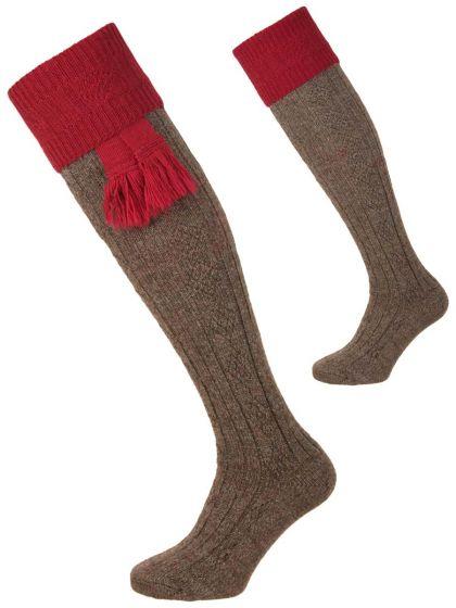 The Pennine Defender Shooting Sock, Derby Tweed and Cherry