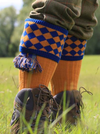 The Fownhope Shooting Sock and Garter, Ochre with Mid Blue