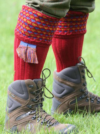 The Honeycomb Knitted Shooting Sock, Brick Red with Cornflower Blue Garter