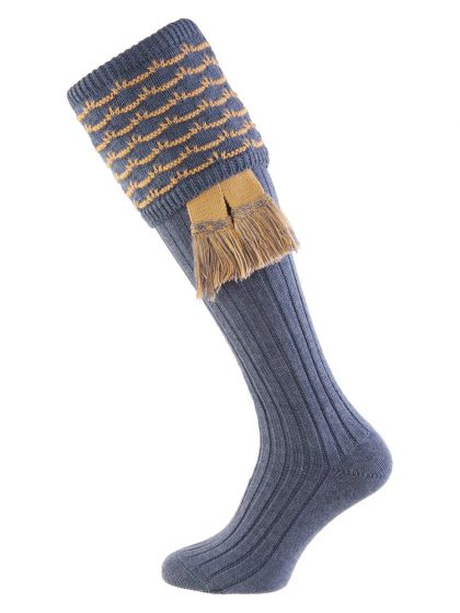 Blue Mix with Camel, Hopton Shooting Sock with Garter