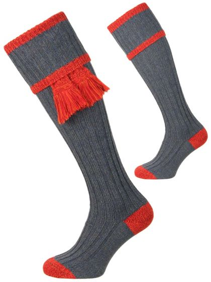 The Kyle Shooting Sock and Garter Set - Blue Lovat and Autumn Glow