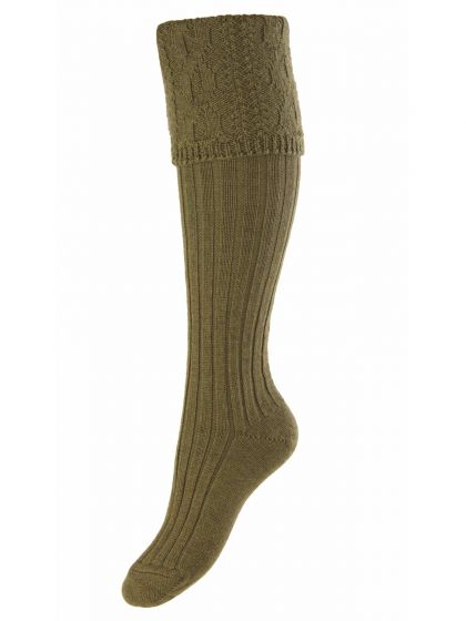 The Lady Glenmore Knitted Boot Sock - Dark Olive