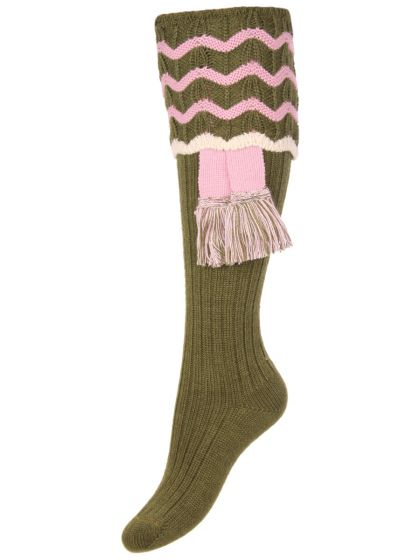 Olive Green - The Lady Grafton Shooting Sock with Garter