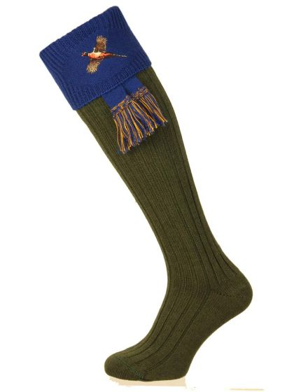 The Lomond Shooting Sock with Pheasant Embroidery