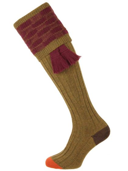 The Dover Shooting Sock, Sage and Burgundy