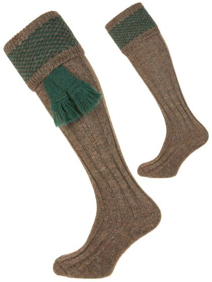 Pennine Penrith Wool Shooting Sock Derby Tweed and Forest Green