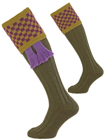 Green with Viola Sovereign Shooting Sock from Pennine