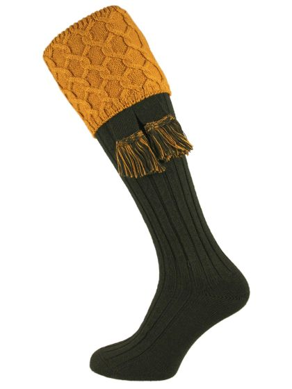 The Letton Shooting Sock - Loden with Mustard