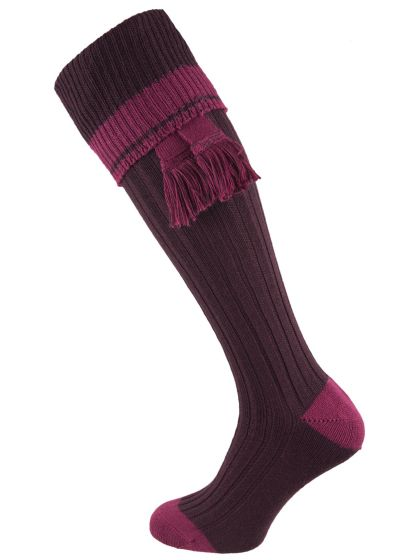 Shooting Sock and Garter Set - Aubergine & Bilberry