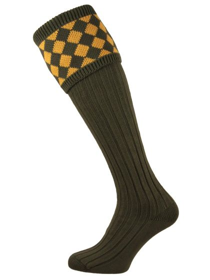 Cotton Chessboard Shooting Sock - Moss and Inca