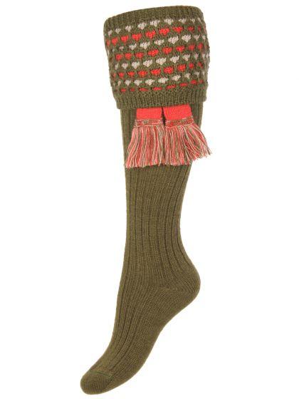 Dark Olive Lady Honeycomb Shooting Socks