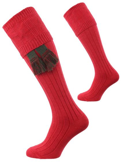 The Berrington Cotton Cable Knit Shooting Sock, Hollyberry Red