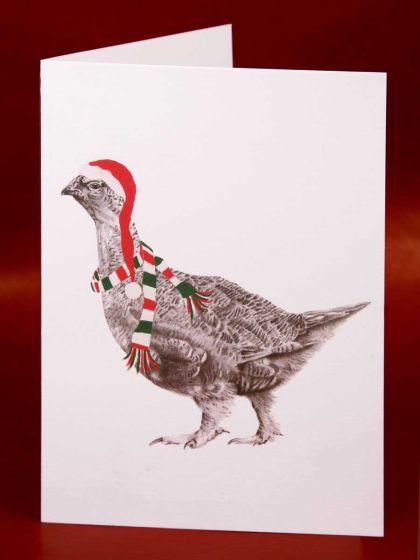 """Festive Graham Grouse"" Individually Wrapped Christmas Card"