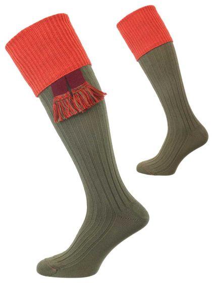 The Tarrington Cotton Shooting Sock, Avocado Green & Copper, with optional Garter
