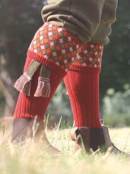 The Durlow Shooting Sock with Garter - Paprika