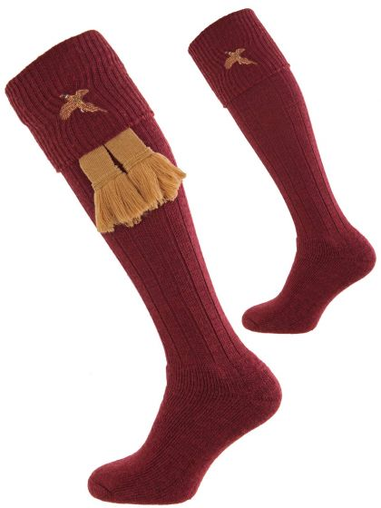 Burgundy Stalker Cushion Foot Shooting Sock with Pheasant Embroidery
