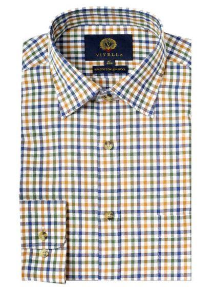 Viyella Men's Cotton and Merino Blend Men's Checked Shirt