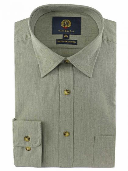 Viyella Men's 80 Cotton 20 Wool Shirt, Green Melange