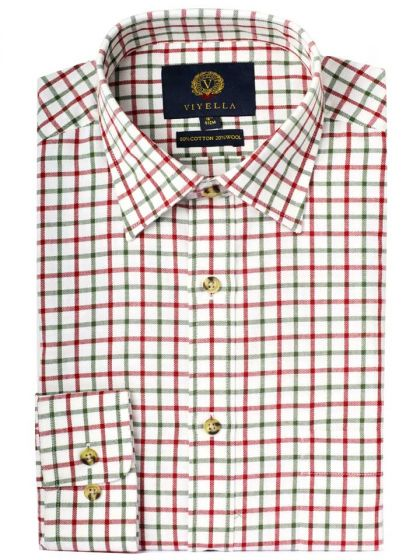 Viyella Men's Cotton and Merino Wool Blend Tattersall Checked Shirt, Red and Green