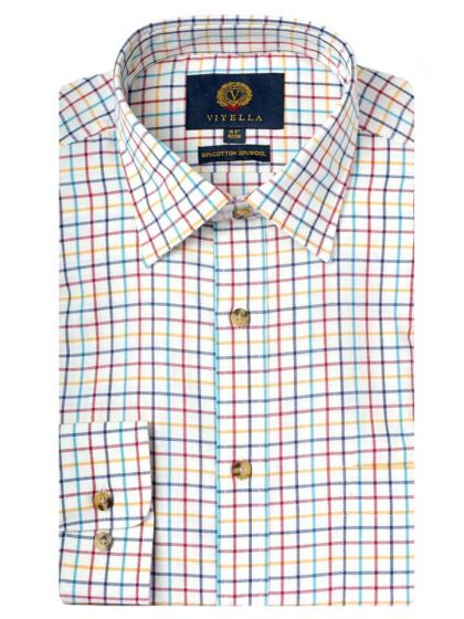 Viyella Men's Cotton and Merino Blend Tattersall Checked Shirt, Gold