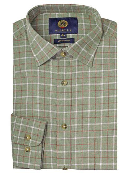 Viyella Men's Cotton Green Checked Shirt