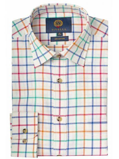 Viyella Men's Cotton Large Tattersall Shirt, Bright Check