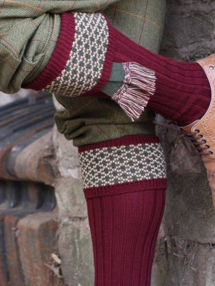 The Whitley Shooting Sock in the field - Burgundy with Olive contrast garter