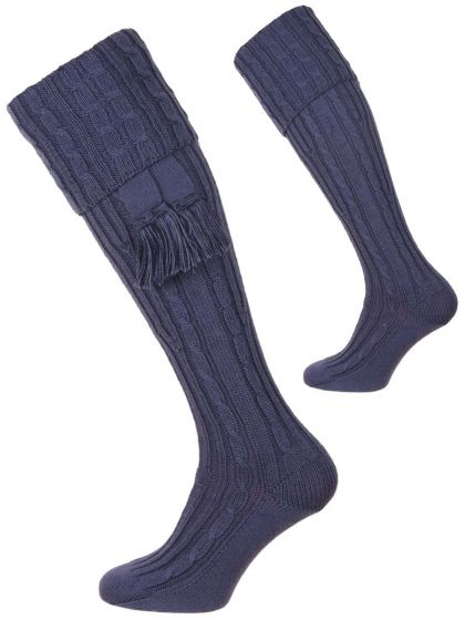 St Andrews Blue, The Wye Cable Merino Wool Shooting Sock