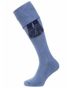 The Allensmore Cotton Cushion Sole Shooting Sock, Cornflower Blue