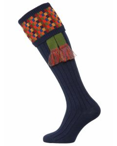 The Ashton Shooting Sock with Garter - Navy