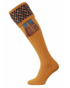 The Ashton Shooting Sock with Garter - Old Mustard