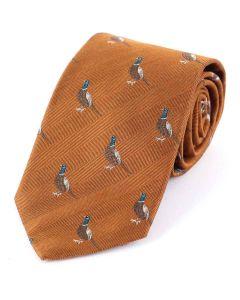 Atkinsons 'Standing Pheasant' Wool & Silk Tie  -Rust
