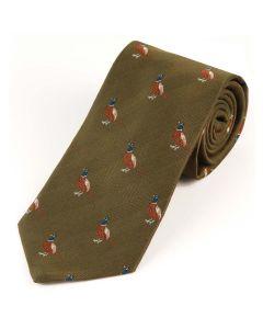 Atkinsons 'Standing Pheasant' Wool & Silk Tie  - Olive