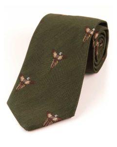 Atkinsons 'Soaring Pheasant' Wool & Silk Tie - Dark Olive