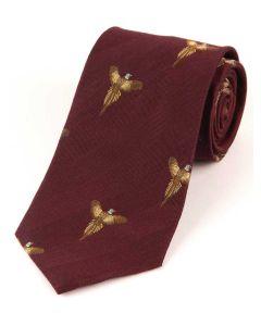 Atkinsons 'Soaring Pheasant' Wool & Silk Tie - Wine