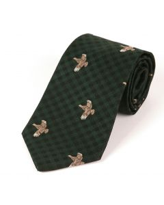 Atkinsons 'Flying Grouse' Wool & Silk Tie - Green