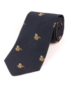 Atkinsons 'Flying Woodcock' Wool & Silk Tie - Navy