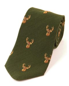 Atkinsons 'Stag' Wool & Silk Tie - Green