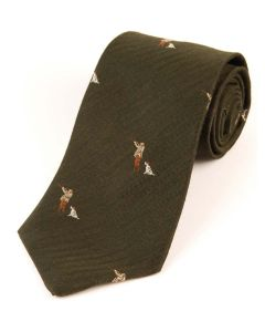 Atkinsons 'Man with Dog' Tie Wool & Silk - Green
