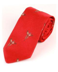 Atkinsons 'Soaring Pheasant' Silk Tie - Red