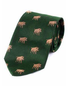 Atkinsons 'Boar' Silk Tie - Olive