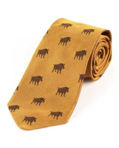 Atkinsons 'Boar' Silk Tie - Gold