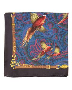 Atkinsons Pheasant Silk Pocket Square - Navy